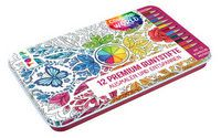 12 Premium Buntstifte - ausmalen und entspannen - Colorful World